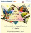 Up to 55% Off to Call Indonesia on Independence Day, from TeleponIndonesia.com