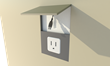 Hide-A-Cord fits over the outlet and has an 8-foot power cord inside the device.