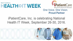 iPatientCare is participating in NHIT Week, September 26-30, 2016