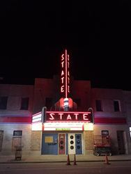 Historic Ely State Theater Sign Lights Again Refurbished by Lawrence Sign