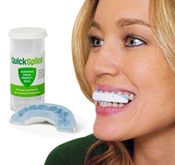 QuickSplint is an interim bite plane that can be used as both a diagnostic aid and healing aid for dentistry. It is the only dental splint designed specifically for short-term use of up to 4-6 weeks.