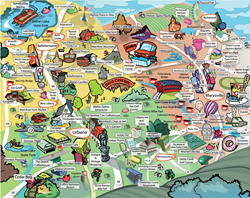 Destination Marketing Map for the Ohio Ramblin' Road Trip. Increase Tourism