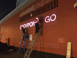 Groupon To Go building signage on Unleaded building