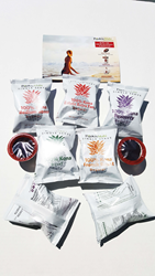 Pooki's Mahi's 100 Kona Coffee pods for custom promotional products and private label distributors. Design at https://custom.pookismahi.com/products/custom-kona-coffee-pods-promotional-swag-products