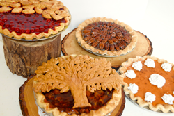 Pumpkin Pie, Apple Maple Bourbon Tree Crust Pie, Cranberry Orange Fallen Leaves Pie, Pecan Pie