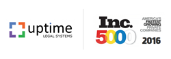 Uptime Legal Systems logo next to Inc. 5000 logo, Uptime Legal Systems named to the Inc. 5000 for the third consecutive year.