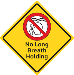 "A ""No Long Breath Holding"" Pool Safety Sign from Clarion Safety Systems. (Sign design ©Clarion Safety Systems. All rights reserved.)"