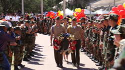 Young Marines perform a wreath laying during Navajo Code Talkers Day in Window Rock, AZ.
