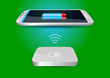 It uses a signal similar to wifi to transfer a charge to the phone.