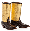 Custom gold-topped boots by Tomasso Arditti from Texas represent some of the remarkable handcrafted work featured at the 2016 Western Design Conference in Jackson Hole.