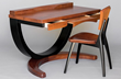 "A wooden desk and chair shows the sleek woodworking by Brian Boggs Chairmakers who also will be furnishing the ""front porch"" for this year's WDC Designer Show House."