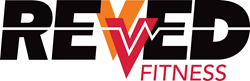Revved Fitness Tulsa Logo with Multicolored Arrows and Heart Monitor Rate