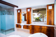Bright Wood Works won first place in the Residential Other category in the 5th Annual PureBond® Quality Awards competition with their contemporary bath installation featuring Crotch African Mahogany.