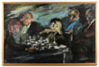 Milshtein, Boys Playing Chess, Oil on Canvas