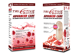 TriActive Biotics Advanced Care packaging in capsule and powder form contain 16 microencapsulated probiotic strains, 5 digestive enzymes and an organic prebiotic