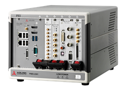 ADLINK Technology showcasing the latest PXI Express test systems and application-specific platforms. PXES-2301 Platform shown here.