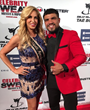 Carla Gonzalez with Professional American boxer and former WBC welterweight champion Victor Ortiz on the red carpet at the 2016 Celebrity Sweat ESPY's VIP After Party