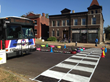 St. Louis City Bus approaches traffic calming demonstration of median and painted crosswalk.