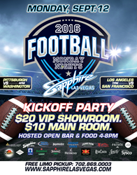 Sapphire Monday Night Football® Party on Monday, September 12, 2016