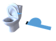 This invention is a small tab that goes underneath the toilet seat that users can pull up to use the toilet.
