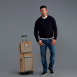 Soul of Nomad Brentwood Slim Fit Jeans in Echelon Blue and Soul of Nomad Dune Luggage Collection in Mojave Brown