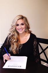 Recording artist Melissa Mickelson signs her Silverado Records contract.