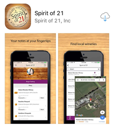 Spirit of 21 Wine Tasting App, available free in iOS and Google Play