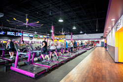 Interior view of a Planet Fitness club.