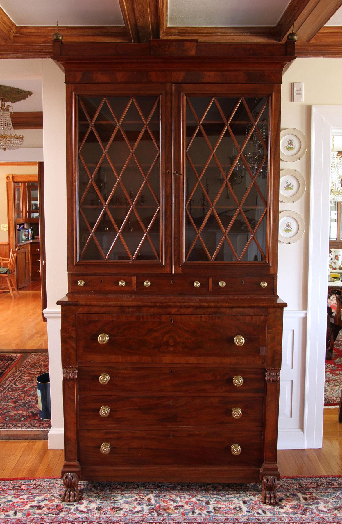 19th C. Classical American Mahogany Secretary Desk ...