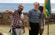 "Writer/director Julio Quintana and Martin Sheen on the set of ""The Vessel"" in Puerto Rico."