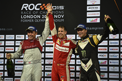 Pictured (Left to Right): Tom Kristensen, Sebastian Vettel, Petter Solberg celebrate victory at ROC London 2015