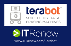 Terabot™ – the lean, mean, erasing machine. Powered by ITRenew's Teraware: the #1 enterprise-grade data erasure platform. For loose drives, laptops and desktops, and even entire data center racks.