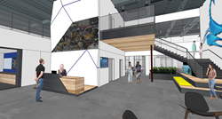 Rendering of lobby for new Scorpion corporate headquarters