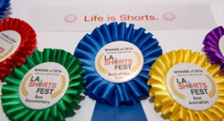 Photo of Winners' Ribbons from the LA Shorts Fest