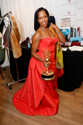 "Actress Regina King, recipient of the award for outstanding supporting actress in a limited series or movie for her role in ""American Crime"" at the Backstage Creations Giving Suite benefitting the Television Academy Foundation Educational Programs at the"