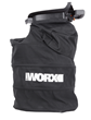 WORX TURBINEFUSION blower automatically converts to a mulcher/vac by snapping on 0.75-bushel, leaf-collection bag.