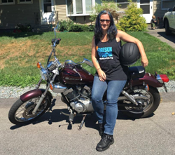 Photo of Cynthia Maloney and her motorcycle