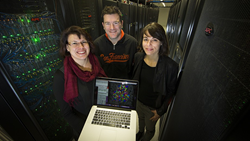 Dr Karmen Condic-Jurkic (right) with Dr Megan O'Mara and Steven De Costa. Image: Stuart Hay, ANU.