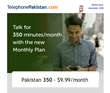 TelephonePakistan.com Introduces Pakistan 350 to Make International Calls to Pakistan the Most Affordable on the Market