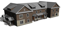 Drawing of the proposed townhouse residence halls.