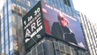 Homeless Solutions' electronic billboard in Times Square highlights the sobering statistic that one out of every 30 Americans is homeless.