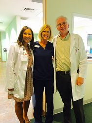 Women's Care Florida physicians Dr. Martha Kapitz and Dr. Ira Riemer with DYSIS reprenstative Tara Huff