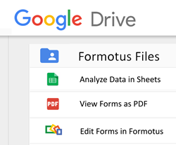 Formotus with Google Sheets and Drive