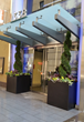 Metallic look planters at the entry to the Griffin Apartments in Philadelphia.