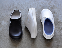 The Florence & Pierce slide for women and the Quincy slip-on for men are available in black, bone and white.