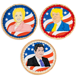 Presidential Cookie Cakes feature caricatures of Donald Trump, Hillary Clinton and Gary Johnson.