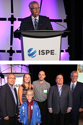 Top: Michael Arnold addressing attendees at the 2016 ISPE Annual Meeting. Bottom: Michael Arnold (far right) with the Pierson family and Pfizer colleagues.