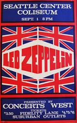 Vintage 1970 Led Zeppelin Seattle Center Coliseum Concert Poster