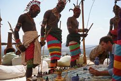Artist Alex Beard and friends from the Mokogodo Massai