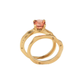 Sunset Bridal Ring Set by Audrius Krulis. 18K Yellow Gold and Pink Tourmaline